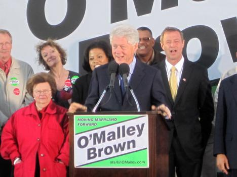 Former President Bill Clinton spoke in Baltimore as part of a nationwide effort to rally Democrats for the upcoming elections.
