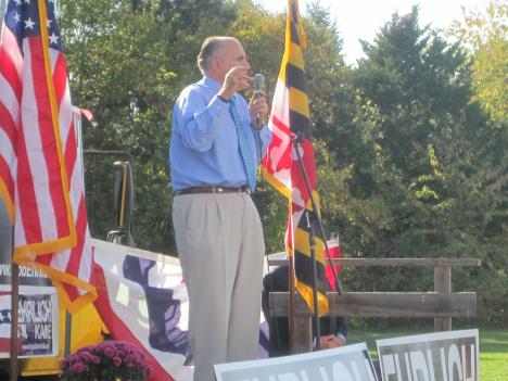Former New York City Mayor Rudy Giuliani speaks at a rally for former Gov. Bob Ehrlich on Sunday, supporting Ehrlich's candidacy for Maryland governor.