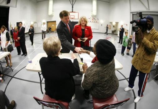 Gov. Bob McDonnell and First Lady Maureen McDonnell voted in the 2010 midterm election this morning at Rivers Edge Elementary School in Glen Allen.