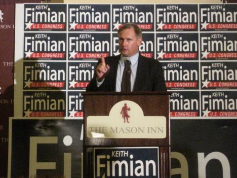 Republican challenger Keith Fimian ended election night without conceding, telling his supporters to be ready to fight for the election again in the morning. The Virginia Board of Elections says it won't call the race until Nov. 22.