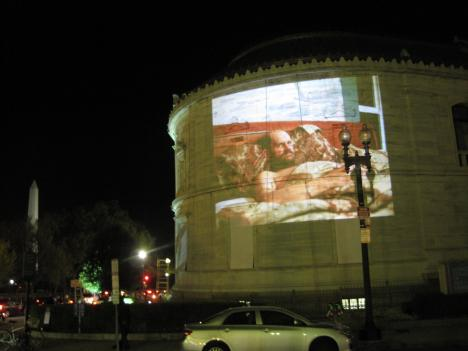 A photograph is projected on the facade of the Corcoran Gallery of Art during the kickoff party for D.C.'s Fotoweek 2010.