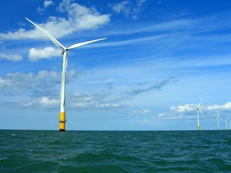 An offshore wind farm in the Thames Estuary. Pending legislation in Maryland would build wind farms off the coast of Ocean City.