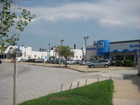 This car dealership would give way to a shopping complex that includes the first Wal-Mart within Baltimore City limits, as well as a Lowe's and residential apartments.