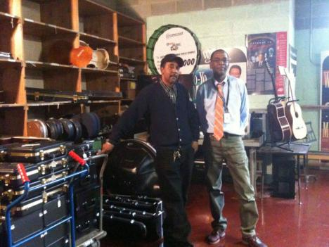 Larry Jernigan and Charles West in their music repair shop in Northeast D.C. Since January this year they have repaired 456 instruments and 122 pianos.