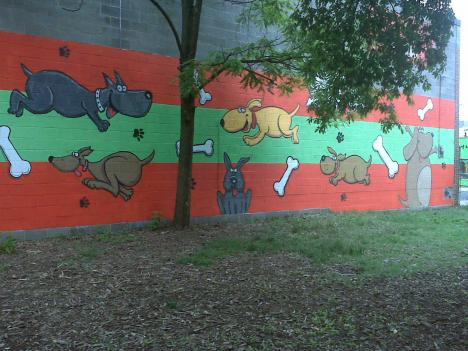 The mural was completed in May 2010 by local artist Mark Gutierrez.