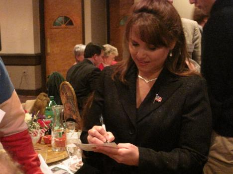 Christine O'Donnell addressed a crowd of nearly 250 people at the Northern Virginia Tea Party banquet in Falls Church on Tuesday night.