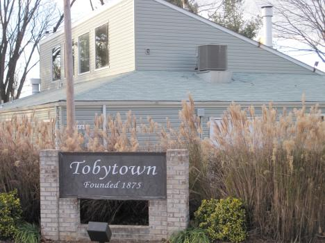 "The community of Tobytown contains 26 homes and this ""all purpose"" community center."