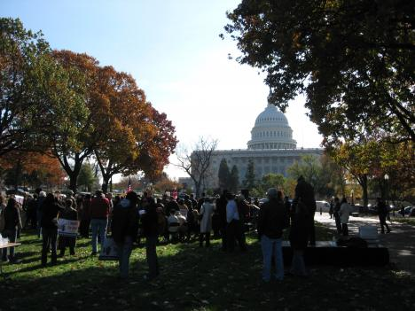 A D.C. Vote rally on Veteran's Day 2008.