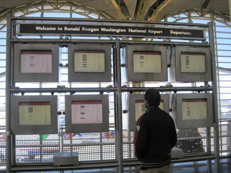 Many passengers at Reagan National Airport were left wondering whether their flights would leave on time, or at all.