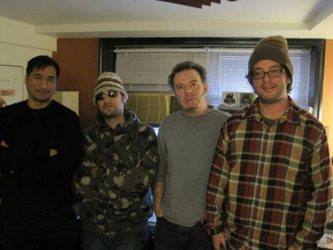 Fort Knox Five band members Sid Barcelona, Steve Raskin, Rob Myers and Jon Horvath hang out in their basement studio.