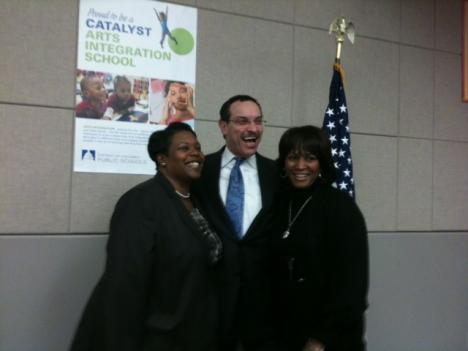 DCPS interim Chancellor Kaya Henderson, D.C. Mayor Vincent Gray and State Superintendent Hosanna Mahaley.