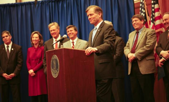 Governor McDonnell (front) is joined by Delegate Tag Greason (R-Potomac Falls), Delegate Barbara Comstock (R-McLean), Sen. Jeff McWaters (R-Virginia Beach), Sen. Steve Newman (R-Forest), Sen. Steve Martin (R-Chesterfield) and Lt. Governor Bollling to announce their 2011 agenda.