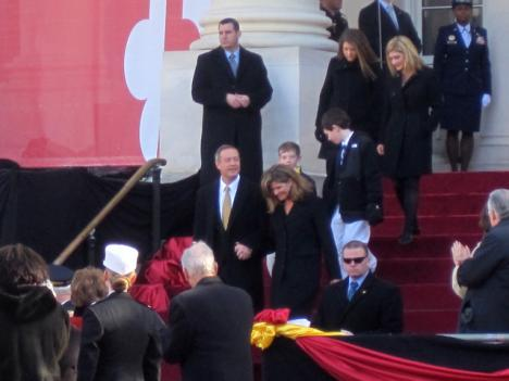 Maryland Gov. Martin O'Malley arrives at his inauguration ceremony Wednesday at the State House with his family.