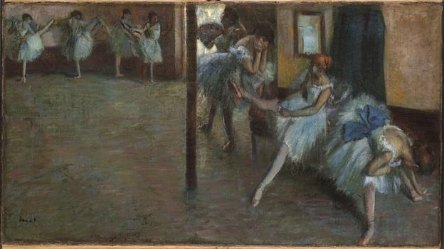 Hilaire-Germain-Edgar Degas, Ballet Rehearsal, c. 1885–91. Oil on canvas, 18 7/8 x 34 5/8 in.