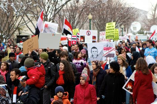 A demonstration was held in solidarity with Egyptian protestors in D.C. on Saturday.