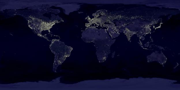 Satellite composite of the Earth at night.