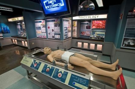 """The """"morgue"""" exhibit at the Museum of Crime and Punishment. This corpse has replicas of bullet holes, knife wounds and more."""
