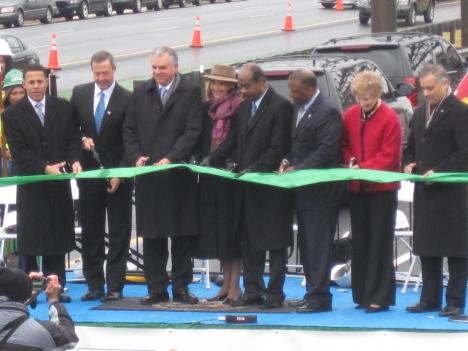 Maryland officials cut the ribbon to mark the opening of the first section of the Intercounty Connector.