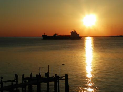 Sunset over the Chesapeake Bay from the Eastern Shore of Maryland.