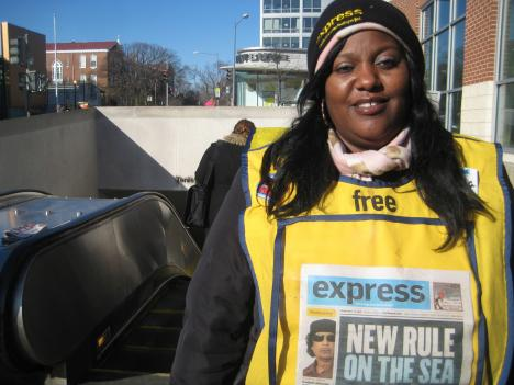 Donella Johnson has been giving out Express Newspapers outside the Tenleytown Metro Station every weekday morning for almost three months.