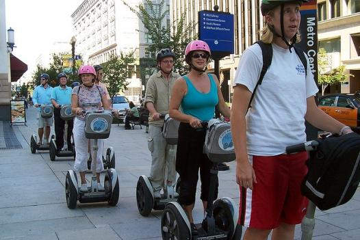 Visitors ride segways on a tour of D.C.