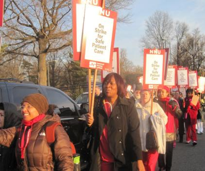 Nurses protesting outside Washington Hospital Center Friday morning.