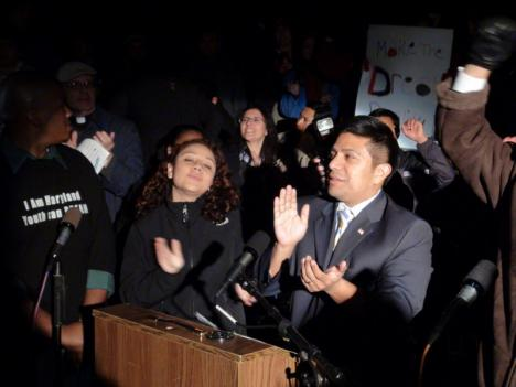 State Sen. Victor Ramirez joins students at rally to promote a bill that would provide in-state college tuition to undocumented students in Maryland. The bill has since passed in the state Senate.