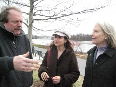 Works by local filmmakers Mike Engilsh (left) and Laura Seltzer (center) will be featured in the 19th Annual Environmental Film Festival, founded by Flo Stone (right).