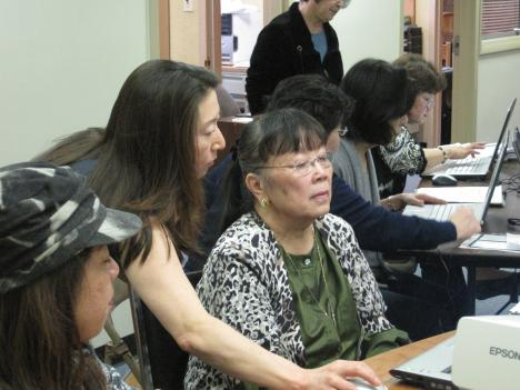 The Japanese Americans' Care Fund normally focuses on providing free services to the local Japanese-American Community -- this class helps elderly residents become computer literate.