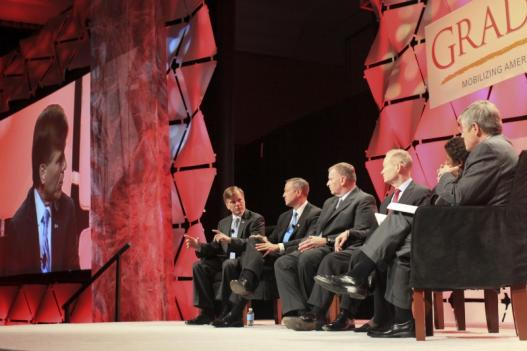 Gov. McDonnell (far left), Gov. O'Malley, Mayor Ballard and Mayor Cornett with moderators Gwen Ifill and Morton Kondracke in a panel at the Grad Nation Summit.