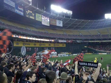 D.C. United fans applaud their team's 3-1 victory over Columbus at RFK Stadium.