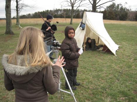 Students from Stonewall Middle School prepare for another scene at Manassas National Battlefield Park.