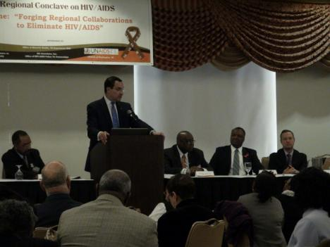 D.C. Mayor Vincent Gray, Prince George's County Executive Rushern Baker and Maryland Gov. Martin O'Malley address the conclave of local black pastors trying to address the HIV/AIDS crisis.