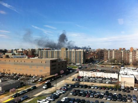 Smoke from the fire Monday morning could be seen from miles away. There were no injuries.