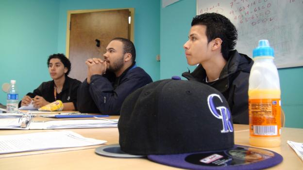 Latino GED students attend class at Montgomery County's Crossroads Youth Opportunity Center.