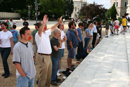 Pro-life protesters in front of the Supreme Court in 2005. A budget deal reached Friday night bans D.C. from funding abortions.