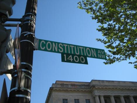 Construction along Constitution Avenue will include replacing traffic signs and replacing sidewalks.