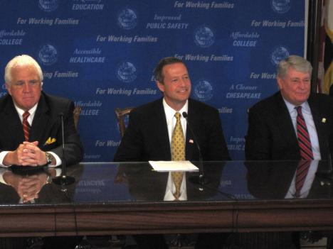 Maryland Gov. Martin O'Malley (center) prepares to sign the first batch of bills passed by the General Assembly on Tuesday, joined by Senate President Mike Miller (left) and Speaker of the House Michael Busch (right).