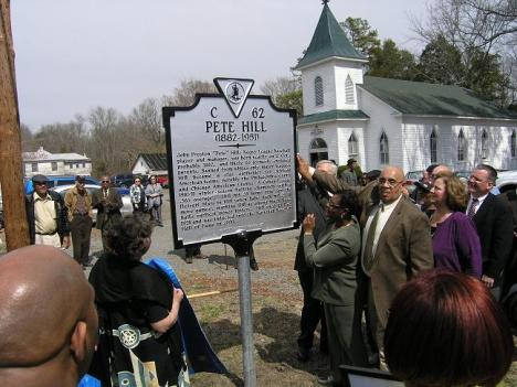 Pete Hill's historical marker was recently erected in Culpeper County, Va.