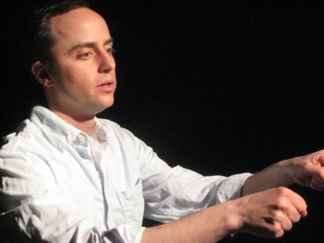 """Jason Lott rehearses a scene from """"The Car Plays."""""""