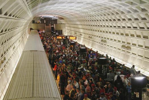 The Navy Yard Metro station after a Nationals game. A cut-off of late night service if D.C. and the team fail to reach a deal on funding could have a drastic impact.