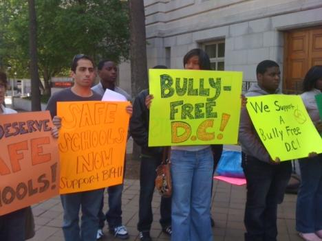 Supporters of new anti-bullying legislation gathered outside of the Wilson Building Thursday.