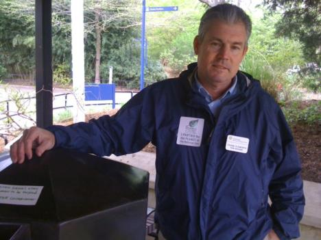 Frank Clements, park manager at the National Zoo, sats the Zoo uses the rain barrels to prevent runoff into Rock Creek and then recycles the water for its gardens.