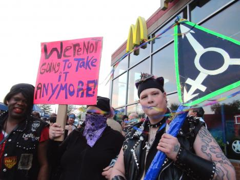 Protesters gathered at a rally outside the McDonald's in Rosedale, Md., in April to call for more protections for transgender people. Police in D.C. say the majority of hate crimes in the city target people based on their sexual orientation.
