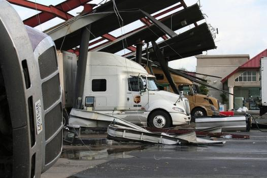 Tornado damage in Washington County at Exit 29 off I-81 on Thursday.