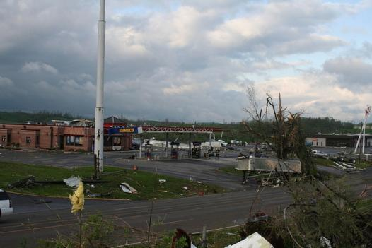 Tornado damage in Washington County at Exit 29 off I-81 April 28.