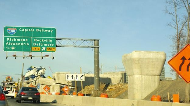 Construction taking place along a portion of the Capital Beltway in Virginia.