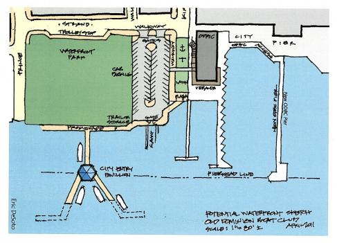 The Old Dominion Boat Club's proposal for the space at the foot of King Street, known as Option A, would create a public walkway along the Potomac River. In exchange, the Boat Club is asking for the city to grant a pleasure boat pier with 28 slips at the Torpedo Factory plus a new boat storage facility on Eisenhower Avenue.