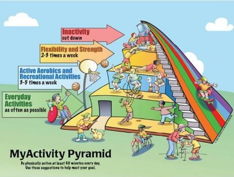 The MyActivity Pyramid handout is based on the 2005 Dietary Guidelines for Americans and MyPyramid.