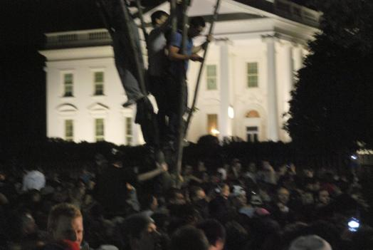 A crowd gathered outside the White House late Sunday night after President Obama announced that U.S. special forces had killed Osama bin Laden.